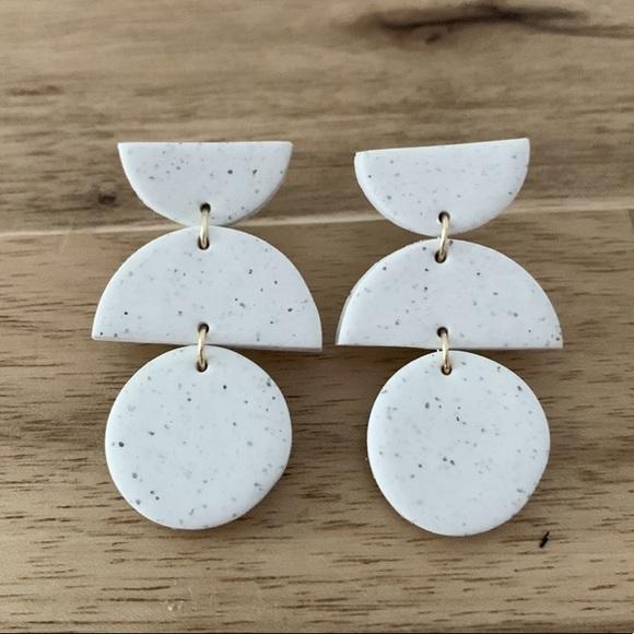 Speckled Clay Earrings  Handmade earrings  Dangle  Polymer Clay  Statement Clay Earrings Minimal Drop Earrings   Unique Earrings Gift